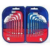 WORKPRO CR-V Innensechskantschlüssel Sechskantschlüssel Satz Winkelschraubendreher-Set in Kunststoffbox 1,5- 10 mm metrisch und 1/16