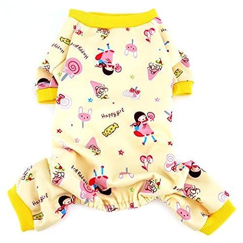 Ranphy Petit Chien Chat Pyjama doux Cosy Puppy Stubbs tenues Shih Tzu Vêtements garçon fille Manteau chaud Hiver Automne Chemise Lollipop d'impression