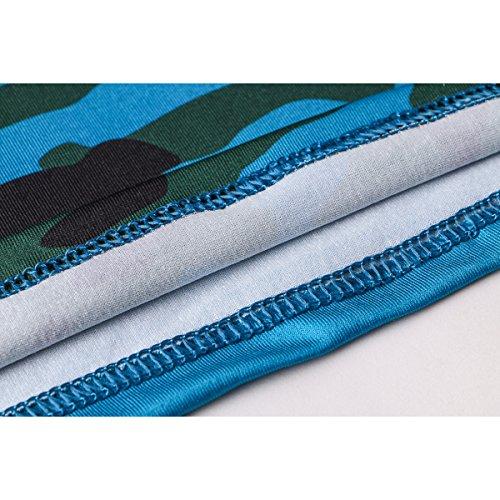 Yying Casual Tees Halter Court sans Manches en Coton Mélangé Backless T-Shirt Femme Débardeurs Camouflage Bleu