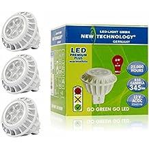 NT LED Lámpara Bombilla 12V Spot 6W / GU5.3 Casquillo / Equivalente a 35W Lámparas Incandescente / Luz Blanco Caliente 3000K / 345 lúmenes / Art. 103040 / 3 Unidades