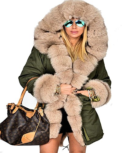 Roiii Frauen-Winter-Pullover Mantel-Pelz-Parka Casual Luxury-Mantel-Jacke Plus Size 44-48-54 (36, Armee-Grün)