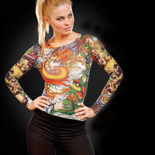 Monsterzeug Tattoo Shirt - Panther & Dragon, Long Sleeve, Langärmliges Shirt in Tattoo Optik, Unisex, Einheitsgröße