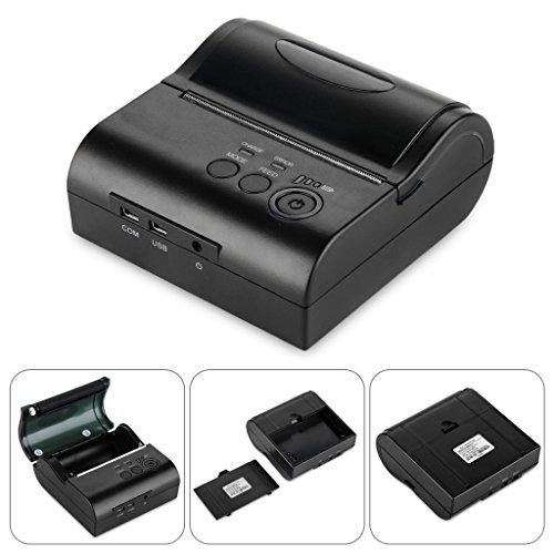 Excelvan -  80mm Bluetooth Inalámbrica Impresora Térmica de Recibos y Tickets,  Interfaz de USB,  Comandos en Star/ESC / POS,  Color Negro