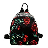 DEELIN Clearance Women Girls Nylon Zipper Print Floral Cute Preppy Style School Bag College Students Travel Bags Business Bookbag School Backpack for Girls Teenagers (A)