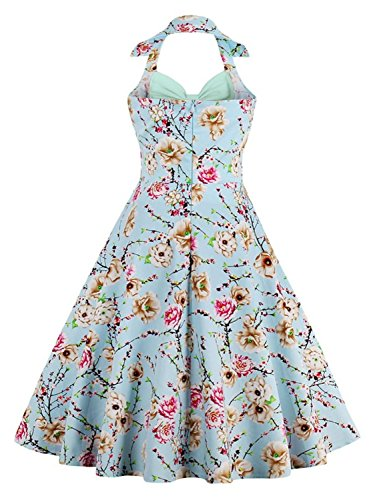 Damen 60er Vintage Rockabilly Kleid Neckholder Partykleid Cocktailkleid Knielang Gr.S~4XL MisShow Blau-Hellgrün