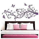 Grandora Wandtattoo XXL Blumenranken Schmetterlinge Blumen I violett (BxH) 160 x 69 cm I Schlafzimmer Liebe Flur Wohnzimmer modern Aufkleber Wandaufkleber W1073