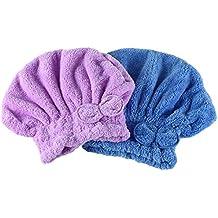 Pretty See 2Pcs Turbante Toalla para el Pelo Toalla Microfibra Pelo Secado Rápido para Baño, Spa, Maquillaje (Púrpura y Azul)