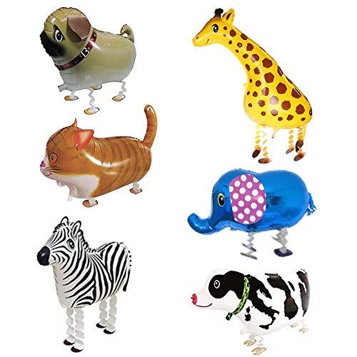 SwirlColor Helium Ballons für Kinder gehende Haustier-Ballon-Kinder-Kinder Ballon-Geschenke Party-Tier-Folien-Ballone (6 Stück)