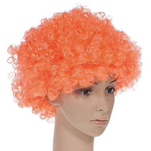 LuckyJIAO Perücken Halloween Disco Clown Curly Afro Zirkus Kostüm Haar Perücken Xmas Party Fan Kopfbedeckungen DE (Color : Orange)