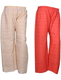 IndiStar Women Combo Pack (Pack Of 1 Georgette Pallazo With Astar And 1 Cotton Chikan Work Pallazo) - B078M47Z3L