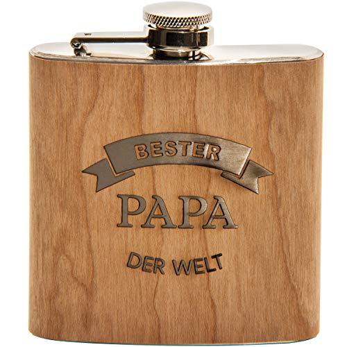 Spruchreif PREMIUM QUALITÄT 100% EMOTIONAL · Flachmann aus Edelstahl mit Gravur und hochwertiger Echtholz Veredelung · perfekte Geschenkidee für Papa · Vatertag · Geburtstag (Bester Papa der Welt)