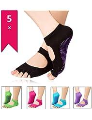Homiki 5 Pares de Calcetines Socks Antideslizantes con Dedos Descubiertos para Yoga Pilates Danzas Tobilleros de Colores Original para Mujeres