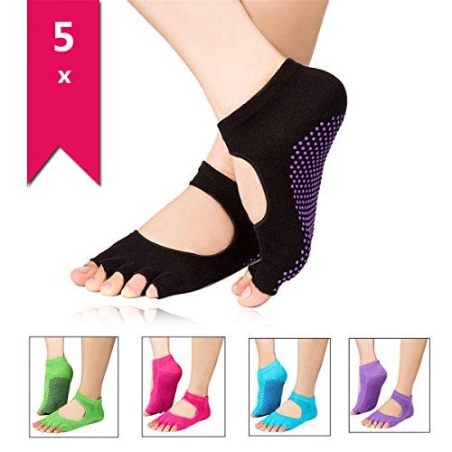 5Paar Socken Socks rutschfeste Finger entdeckten für Yoga Pilates Socken Tänze Farben Original homiki für Frauen