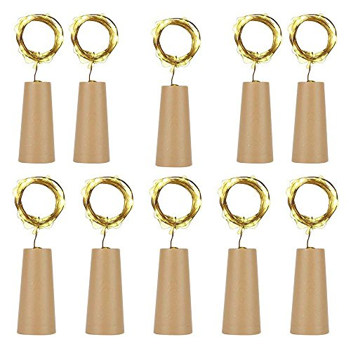 EXQUILEG 10 x 20 LEDs 2M Flaschen-Licht, LED Lichterketten Weinflasche Mini Kupferdraht, Sternenlichter für Flasche DIY, Party, Dekor, Weihnachten, Hochzeit (Gelb)