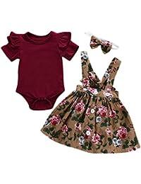 BeautyTop 0-24 Monat Kleidung Set Baby Mädchen Kleinkind Baby Toddler Kinder kurzärmeligen 3 Stück Kind Baby Kurzarm Harem + Riemen Rock + Haarband dreiteiligen Anzug