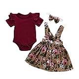 BeautyTop 0-24 Monat Kleidung Set Baby Mädchen Kleinkind Baby Toddler Kinder kurzärmeligen 3 Stück Kind Baby Kurzarm Harem + Riemen Rock + Haarband dreiteiligen Anzug (0-6Monat)