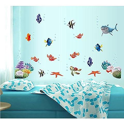 Diamondhead New mignon Poissons des fonds marins Wall Sticker Pour Chambre / salle de bains en verre