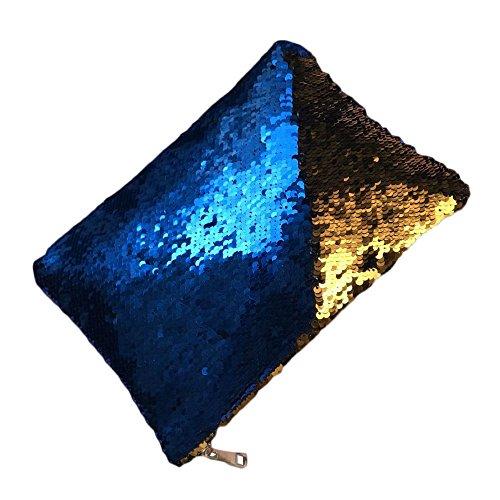 Shujin Damen Mode Abendtasche mit glitzernden Pailletten Handtasche Clutch Tasche Geldbörse mit Reißverschluss für Party Hochzeit Knallblau+Gold