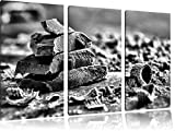 Monocrome, dark chocolate shavings 3 PC Canvas picture 120x80 image on canvas, XXL huge Pictures completely framed with stretcher, Art print on mural with frame gänstiger as a painting or an oil painting, no poster or poster