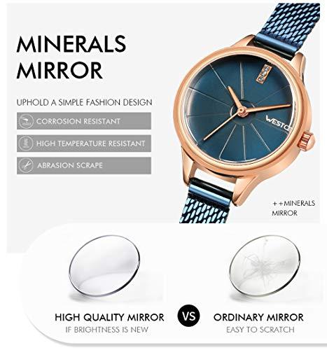 Love Life Damen Quarzuhr, Wasserdichte Damenuhr + Professionelle Verpackungs Geschenkbox, Ultradünne Analoge Quarz-Edelstahl-Rose Gold, Einfache Lässige Uhr Damen,Blue