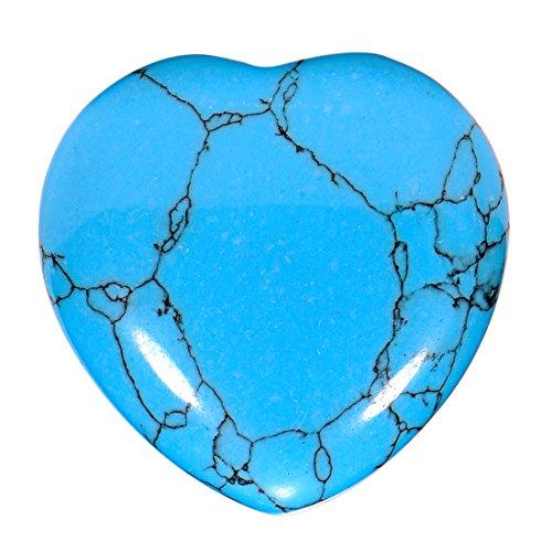 Morella portafortuna a forma di cuore gemma pietre preziose turchese 3 cm in un sacchetto di velluto