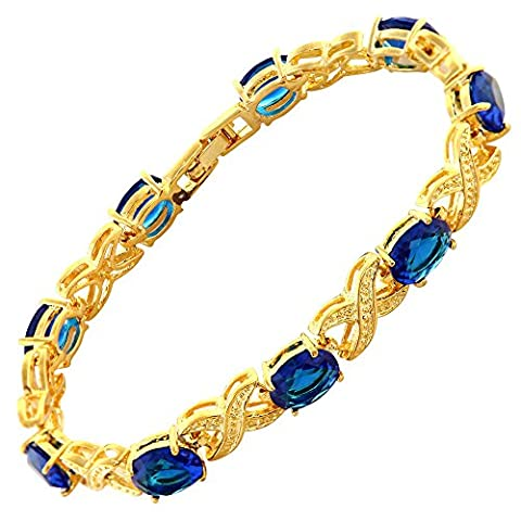 Rizilia Jewellery Oval Cut Blue Sapphire Color Gemstones Fine CZ