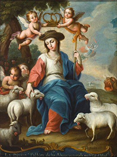 ODSAN The Divine Shepherdess (La Divina Pastora) - Miguel Cabrera - Impresión en lienzo 16x21 pulgadas - sin marco