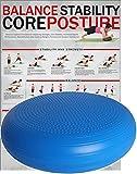 POWRX Ballsitzkissen mit Noppen I 50 cm Gleichgewichtskissen I Balance-Kissen Blau PVC frei I Luftpad für Fitness, Yoga, Pilates