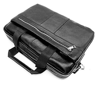Livan® Serviette Sacoche cartable porte document Bandoulière en cuir vachette neuf L0039