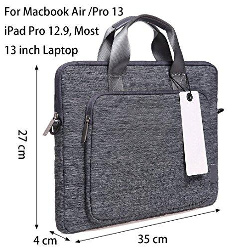 Sacoche pour ordinateur portable, XGUO 13 Pouce Housse Surface Pro 4 Surface Book MacBook Air 13 Dell XPS 13 HP HP Spectre X360 iPad Pro 12.9 Pochette Case Sleeve Cover (13.3'', Gris)