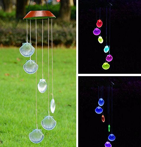 LED Solar Windspiel, Farbwechsel, Seashell Formen Wind Chimes Solar Mobile wind Bell für Home/Party/Garten/Hof Dekoration