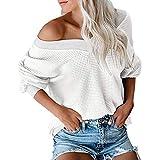 Tohole Damen Langarmshirt Oversize Pullover Sexy Off Shoulder Schulterfrei V-Ausschnitt Causal T-Shirt Oberteil Tops Langarm Pulli Hemd Casual Farbblock Top Bluse (Weiß,XXL)
