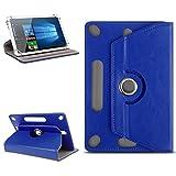 Nauc Custodia universale per tablet da 10-10,1 pollici, con funzione leggio, girevole a 360°, lavorazione di alta qualità, disponibile con diversi motivi blu Blu