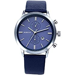 Familizo Men Casual Life Waterproof Leather Military Japan Watch Date Display Blue