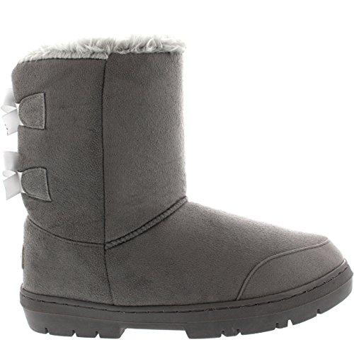 Damen Schuhe Twin Schleife Fell Schnee Regen Stiefel Winter Fur Boots - Grau - 42 - AEA0237
