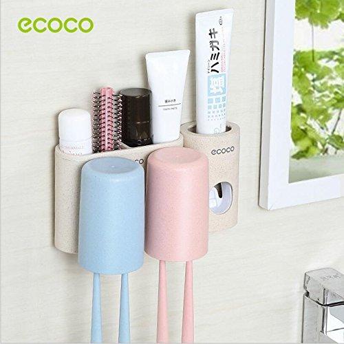 Gika R Soporte para cepillos de dientes, montaje en pared, material de pajita de trigo sin polvo, limpio con un dispensador de pasta de dientes automático