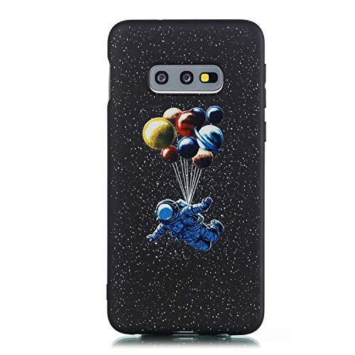 Yobby Schwarz Hülle für Samsung Galaxy S10e,Weiches Silikon Handyhülle mit Süß Stern Design, Jungs Mädchen Kinder Flexibel Gummi Gel Stoßfeste Schale für Samsung Galaxy S10e-Astronaut -
