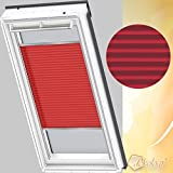 Orignal VELUX Plissee / Faltstore FHL FK06 1269S / Bedienart : Manuell / Farbe : Uni Rot / Fenstergröße : FK06 / Fenstertypen : GGU, GGL, GPU, GPL, GTU, GTL, GXU, GXL _16083