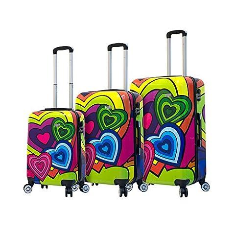 Mia Viaggi Pop Heart 3 Piece Hardside Spinner Upright Luggage Set - 20