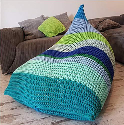 Huanzi sofa divano pigro intrecciato a mano creativo singolo simpatico divano sacco a pelo di cotone, multiuso divano sacco per balcone, soggiorno, studio, b, 70 * 120cm