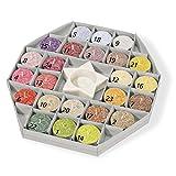 Duftkerzen-Adventskalender: 24 Palmwachs-Teelichter mit Keramikleuchter