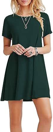 FALARY Abiti Donna Eleganti Vestiti Estivii Vestito Corte Rotondo Collo Sciolto Casual