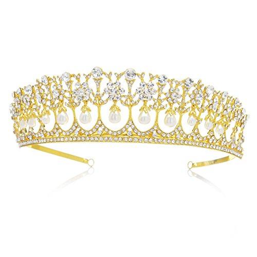 istalle Hochzeit Krone Braut Tiara Retro Stil Diadem für Festzüge Abschlussbälle, Gold (Gold Tiara)