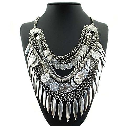 Internet Neue Fashion Damen Damen Vintage Boho mehrlagige Münze Quaste Halsketten (Münze Silber Fall)