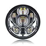 #10: 5-3/4 5.75 Inch Daymaker Projector LED Headlight for Harley Davidson Motorcycles Headlamp 45W Chrome