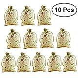 BESTOYARD Sacchetti di lino porta regali per Pasqua e festa matrimonio con coniglietto di 10x13 cm 10PCS