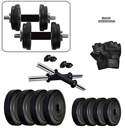 BEACON INTERNATIONAL Exercise Dumbbell Set 36 KG with Gym Glove