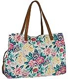 """SIX """"Sommer"""" weiße Henkel Tasche aus Canvas, Blumen Print in Pink, Lila, Grün, Gelb (427-325)"""
