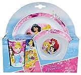 FUN HOUSE 005466 Disney Princesses Ensemble Repas Contenant 1 Assiette, 1 Bol et 1 Verre pour Enfant Polypropylène, Rose, 26,5 x 8,5 x 24,5 cm
