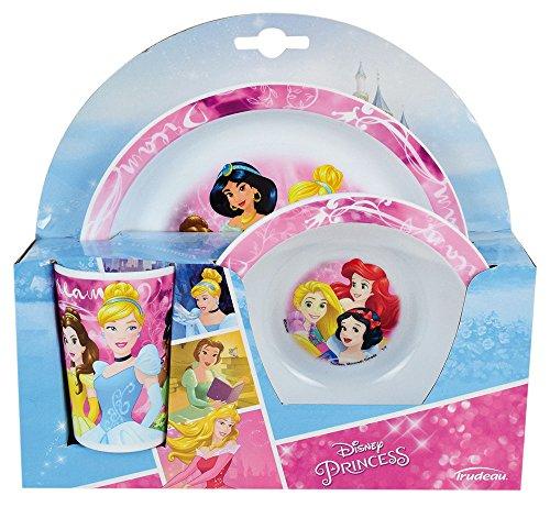 FUN HOUSE 005466 Disney Princesses Ensemble Repas Contenant 1 Assiette, 1 Bol et 1 Verre pour Enfant, Polypropylène, Rose, 26,5 x 8,5 x 24,5 cm